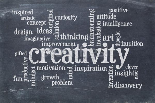 Kreatywność chmura słowo tablicy biały kredy vintage Zdjęcia stock © PixelsAway