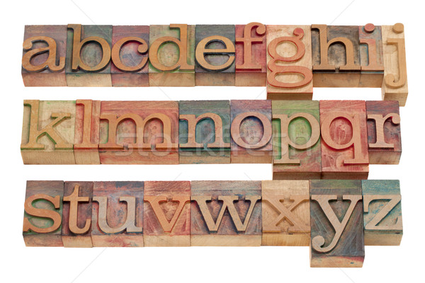 English alphabet in wood letterpress type Stock photo © PixelsAway