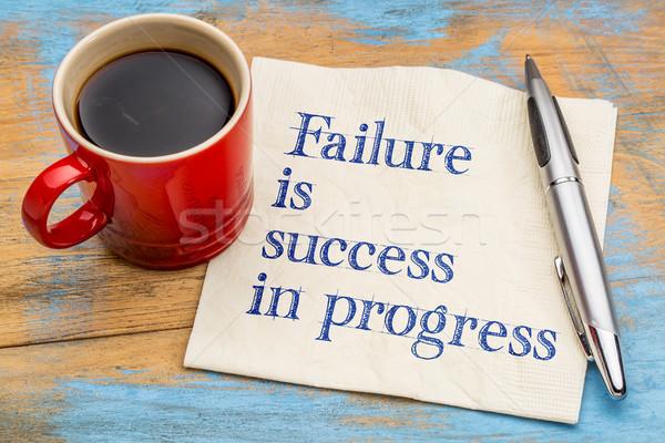 Ausfall Erfolg Fortschritte Handschrift Serviette Tasse Stock foto © PixelsAway