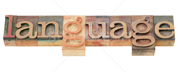 Stock photo: language word in letterpress type