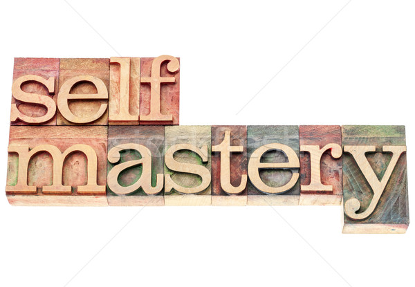 Stock photo: selfmastery word in wood type