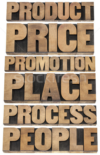 Estratégia de marketing marketing produto preço promoção lugar Foto stock © PixelsAway
