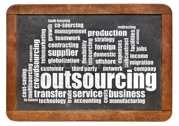 Outsourcing chmura słowo vintage tablicy odizolowany biały Zdjęcia stock © PixelsAway