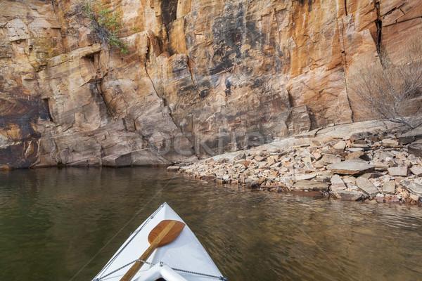 ストックフォト: カヌー · コロラド州 · 湖 · 弓 · 貯水池 · 高い