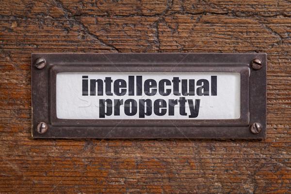 Szellemi tulajdon címke akta faliszekrény bronz grunge Stock fotó © PixelsAway