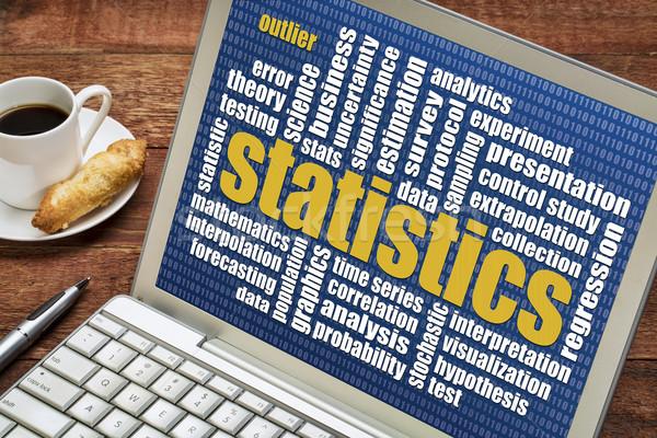 Statisztika szófelhő laptop csésze kávé adat Stock fotó © PixelsAway