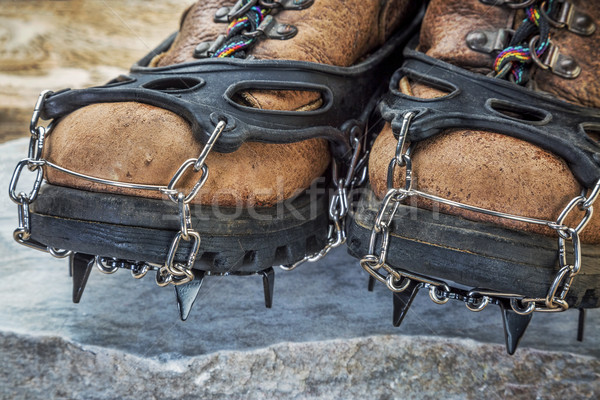 hiking boots with crampons Stock photo © PixelsAway