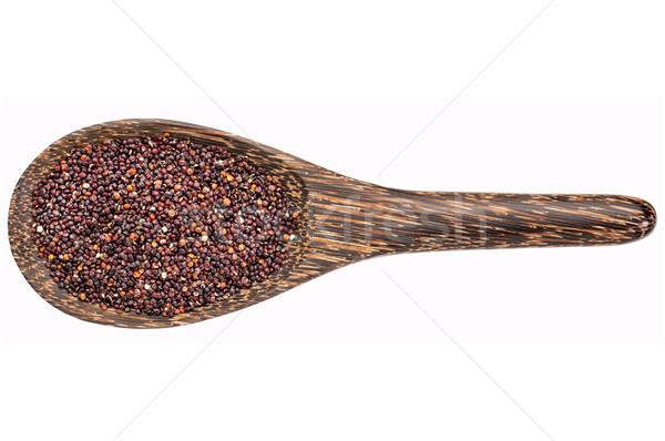 Sin gluten negro grano cuchara de madera aislado blanco Foto stock © PixelsAway