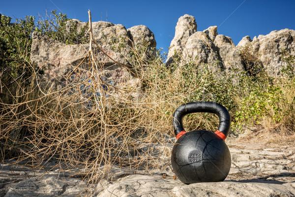 鉄 ケトルベル 屋外 フィットネス 岩 ストックフォト © PixelsAway