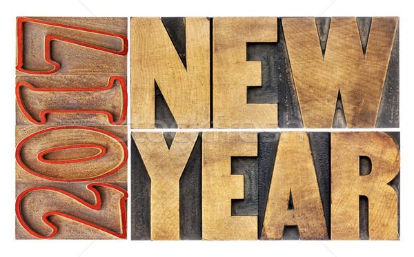 2017 New Year in wood type Stok fotoğraf © PixelsAway