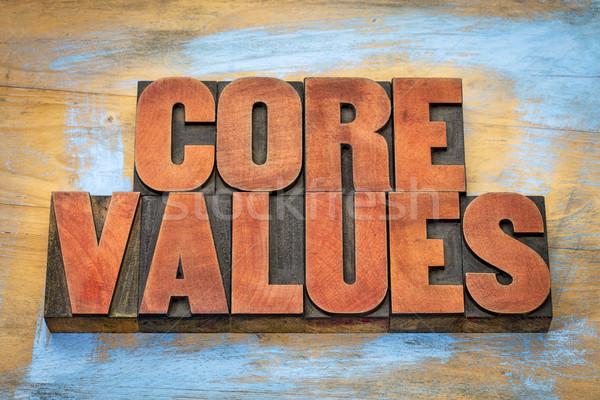 Núcleo valores vintage madera tipo banner Foto stock © PixelsAway
