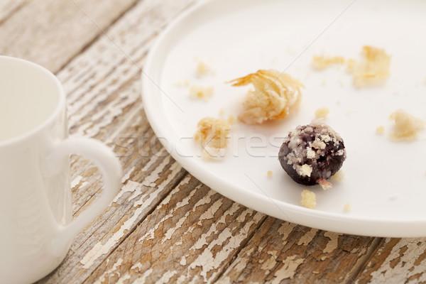 Tatlı pasta kırıntıları kiraz peynir beyaz Stok fotoğraf © PixelsAway