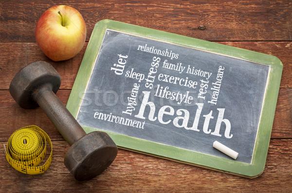 Gezondheid woordwolk dieet lifestyle familie geschiedenis Stockfoto © PixelsAway