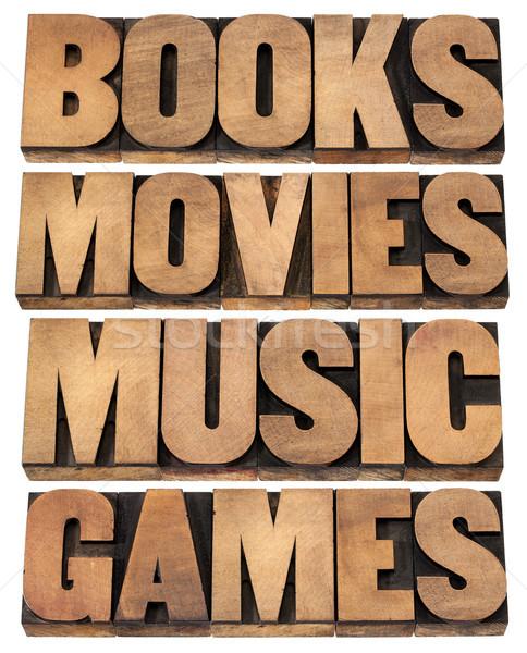 книгах фильмы музыку играх развлечения коллаж Сток-фото © PixelsAway