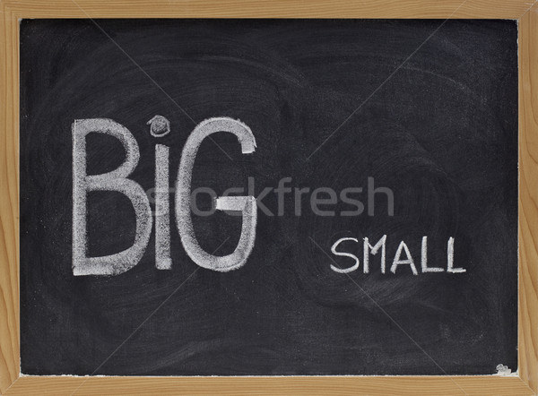 Stock fotó: Nagy · kicsi · ellenkező · kontraszt · szavak · kézzel · írott
