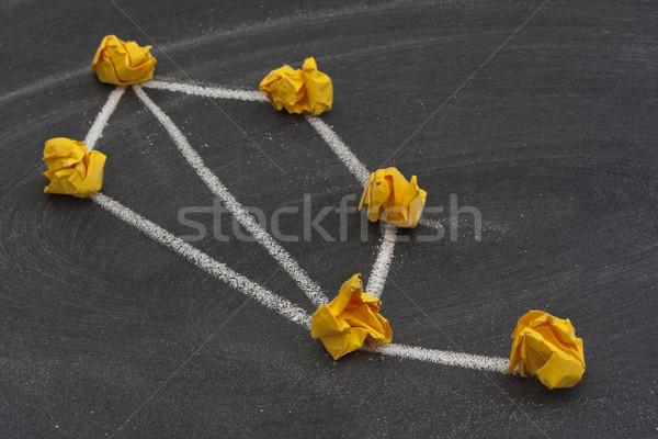 Netwerk model gedeeltelijk Geel papier Stockfoto © PixelsAway