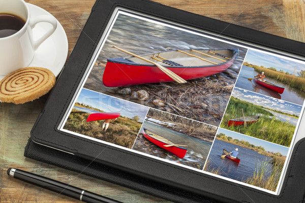 paddling red canoe collage Stock photo © PixelsAway