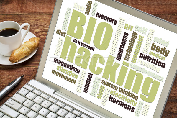 biohacking word cloud on tablet Stock photo © PixelsAway