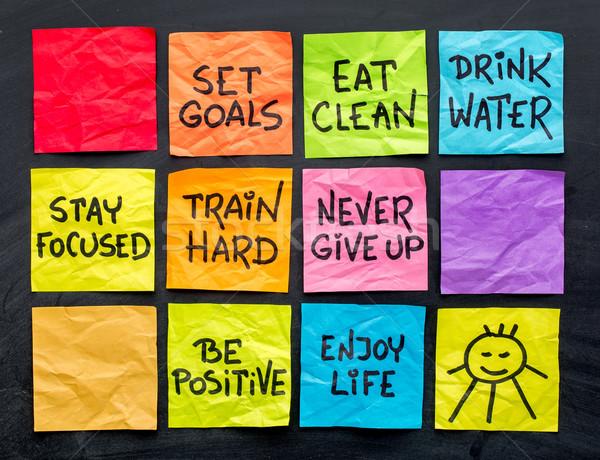 Egészséges életmód tippek jegyzetek eszik fitnessz gondolkodásmód Stock fotó © PixelsAway