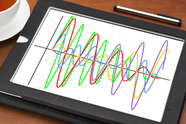 graph of wave signals on tablet Stock photo © PixelsAway