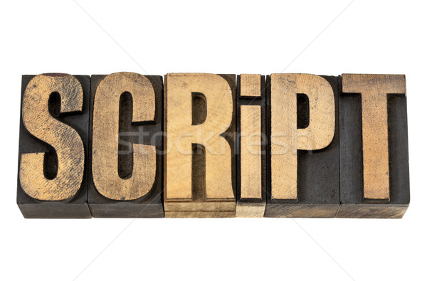 script - word in letterpress wood type Stock photo © PixelsAway
