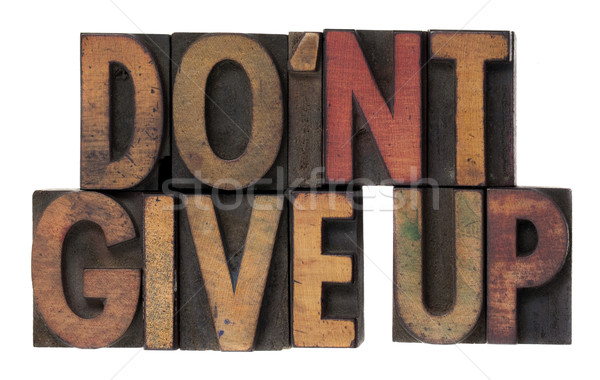 do not give up phrase in wooden type Stock photo © PixelsAway