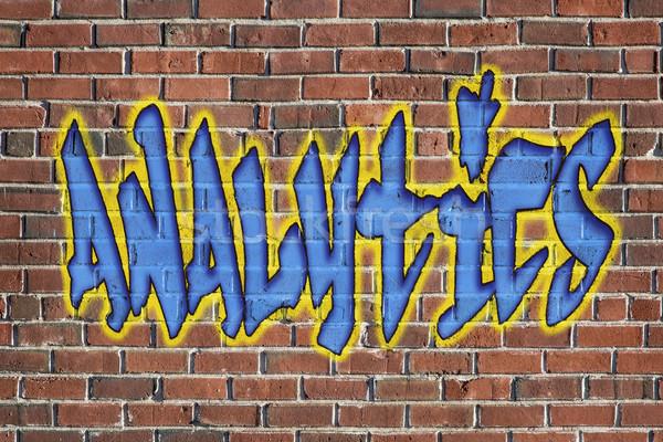 Analítica palavra grafite estilo texto velho Foto stock © PixelsAway