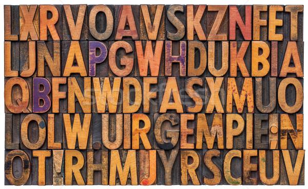 Alfabet abstrakcyjny vintage drewna typu Zdjęcia stock © PixelsAway