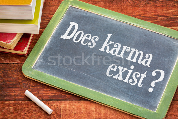 Does karma exist question on blackboard Stock photo © PixelsAway