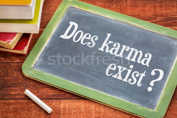 Karma kérdés iskolatábla fehér kréta klasszikus Stock fotó © PixelsAway