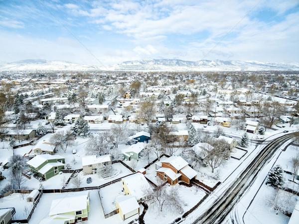 форт зима Cityscape типичный жилой Сток-фото © PixelsAway