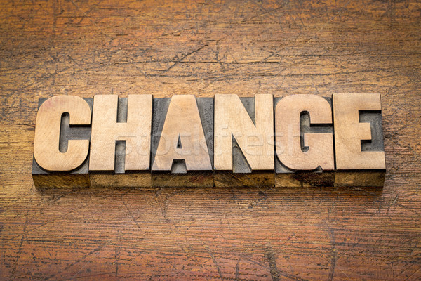change word abstract in wood type Stock photo © PixelsAway