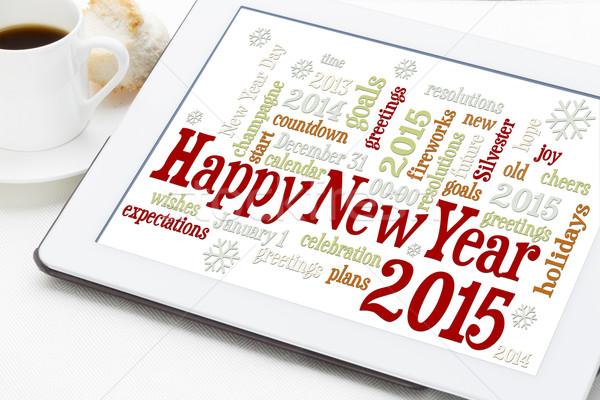 明けましておめでとうございます 2015 言葉の雲 デジタル タブレット カップ ストックフォト © PixelsAway