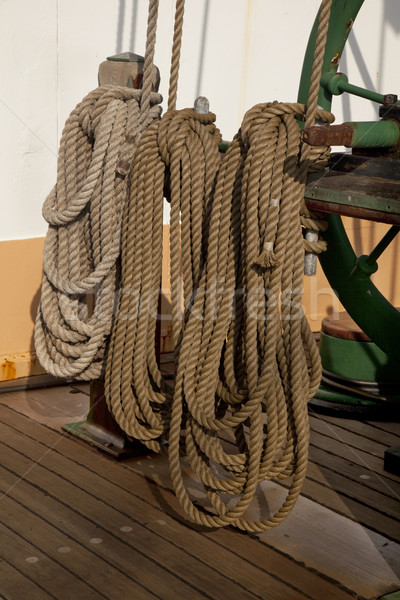 coiled ropes and winch Stock photo © PixelsAway