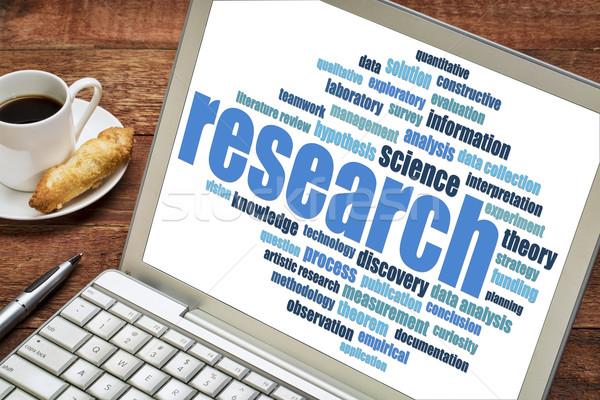 research word cloud on a laptop Stock photo © PixelsAway
