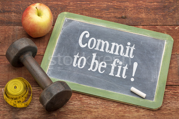 Commit to be fit - concept on blackboard Stock photo © PixelsAway