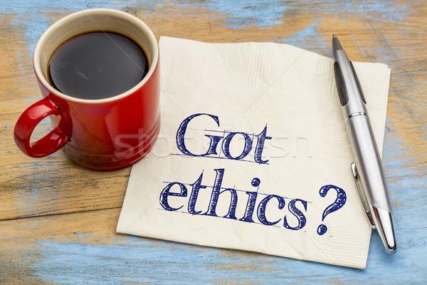 Etika kérdés szalvéta etikus kézírás csésze Stock fotó © PixelsAway