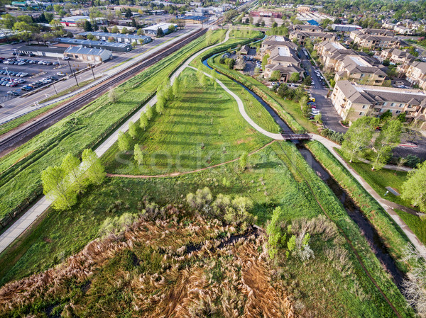 aerial view of bike trails and green areas in Fort Collins, Stock photo © PixelsAway