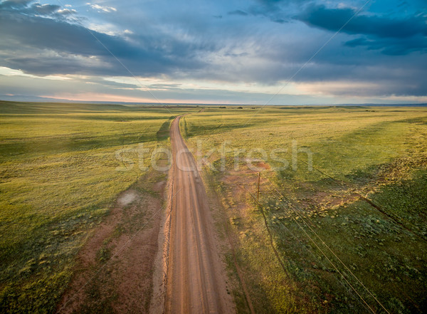 ranch road over Wyoming prairie Stock photo © PixelsAway