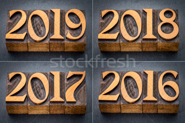 Stock photo: 2016, 2017, 2018 and 2019 year set