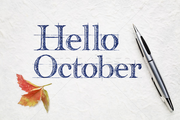 Hello October greeting card Stock photo © PixelsAway