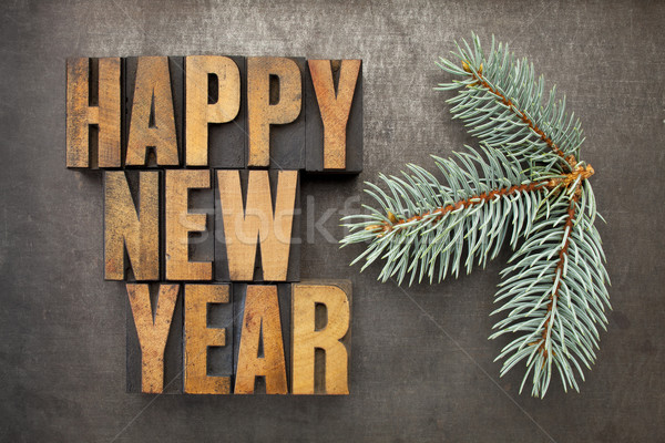 Happy new year bois type texte vintage Photo stock © PixelsAway