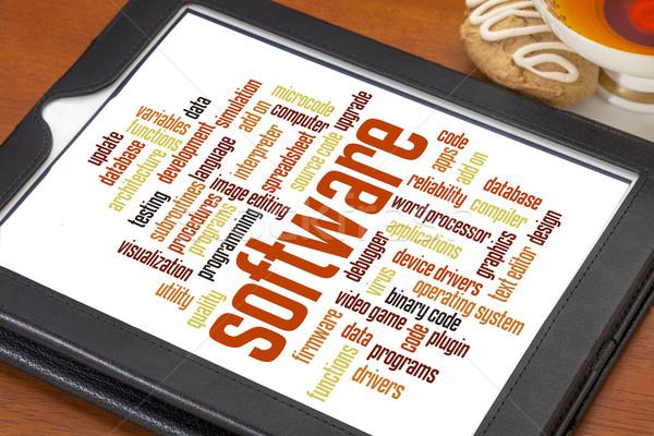 Szoftver szófelhő számítógép program digitális tabletta Stock fotó © PixelsAway