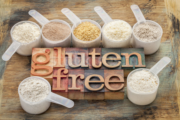 Stock photo: gluten free flours and typography