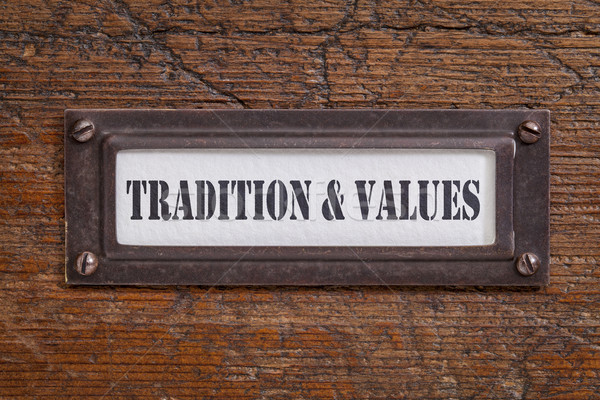 tradition and values - file cabinet label Stock photo © PixelsAway