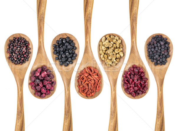 Stock photo: dried superfruit berry set
