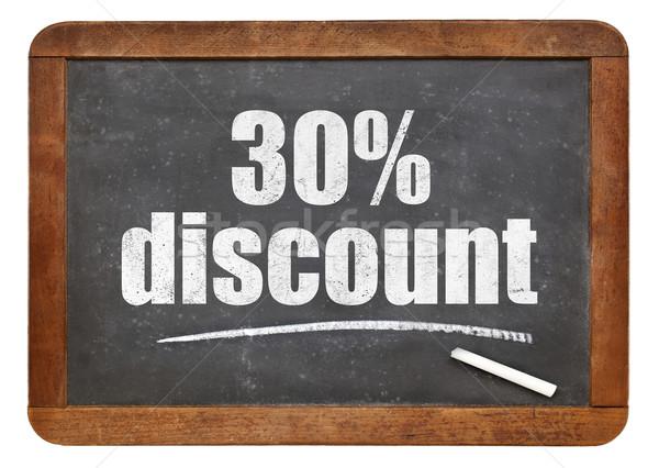 тридцать процент скидка доске знак белый Сток-фото © PixelsAway