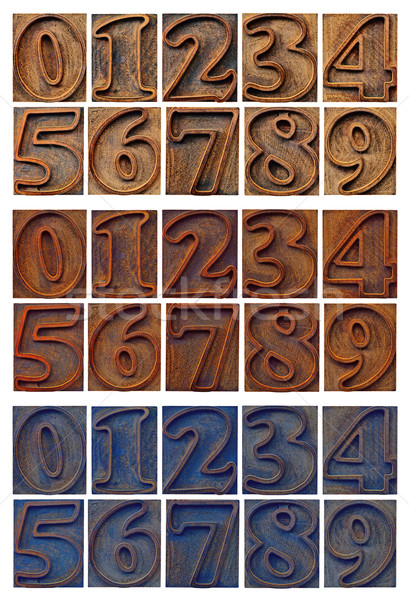 outlined numbers in letterpress wood type Stock photo © PixelsAway