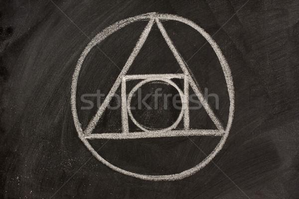 Simya simge tahta beyaz tebeşir geometrik Stok fotoğraf © PixelsAway