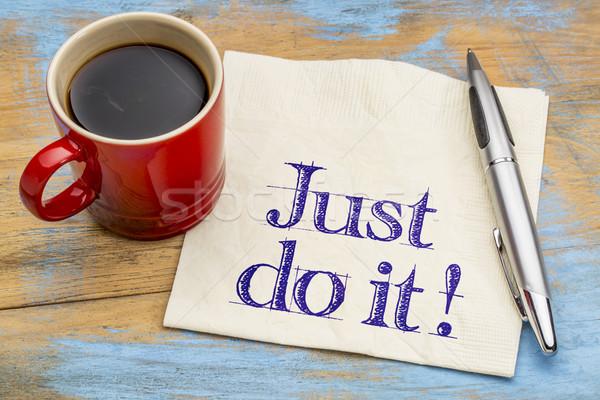 Foto stock: Motivacional · conselho · guardanapo · copo · café · motivação